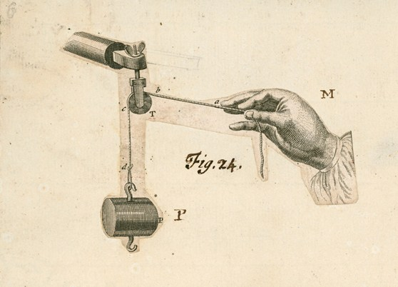 Black and white engraving of a hand holding a string attached to pulley and small weight