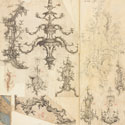 Photograph of scrapbook page spread showing fragments of printed designs of rococo woodworking