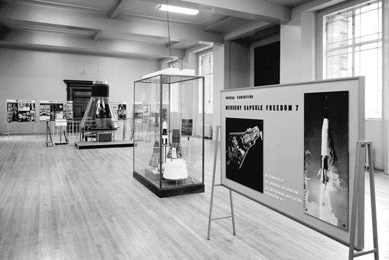 Black and white photograph of the Display of Space Conquest exhibition at the Science Museum, London, 1965