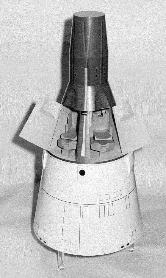 Black and white photograph of a model of the Gemini space capsule