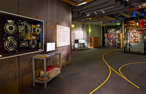 Photograph of part of the Collider exhibition showing a mock section of the interior of CERN