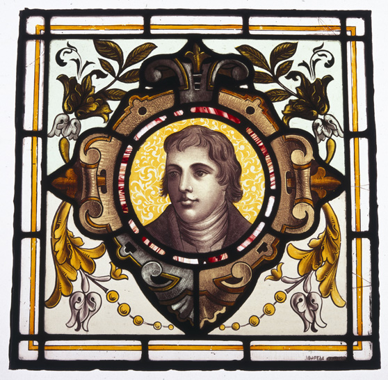 Decorative stained glass window pane portrait of Edward Jenner