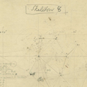 Pencil drawing of star positions with written measurements entitled skeleton 8