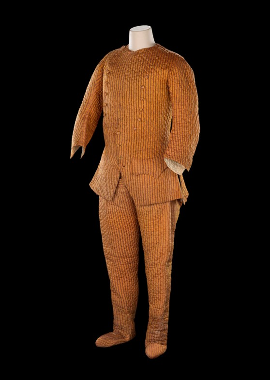 A bronze coloured striped and padded observing suit made from Indian silk