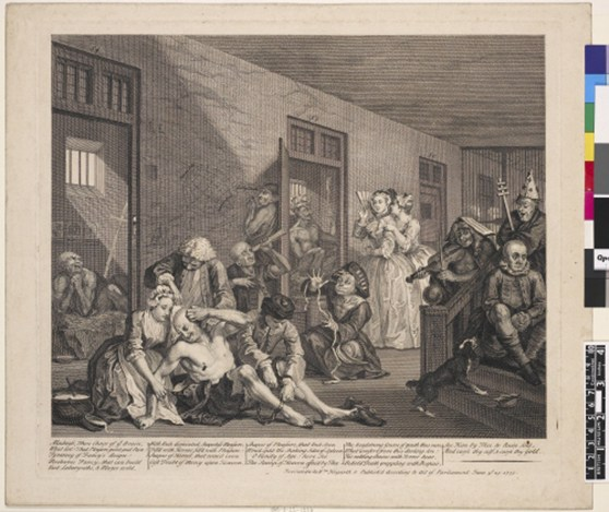 An engraving from 1735 of a scene at Bedlam asylum showing inmates and observers