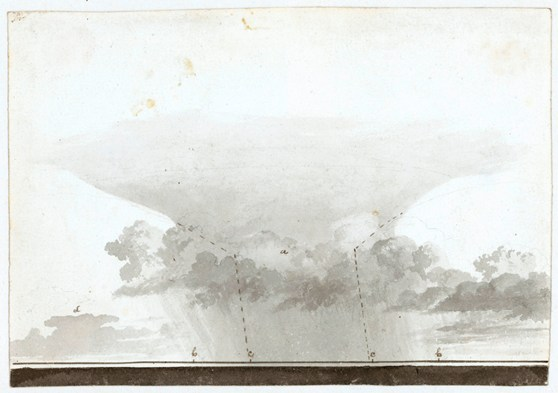 Grey watercolour painting of a cloud formation with pencilled lines and letters