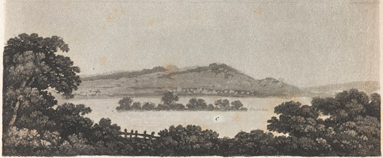 Print of an engraving of a landscape scene with very low lying clouds