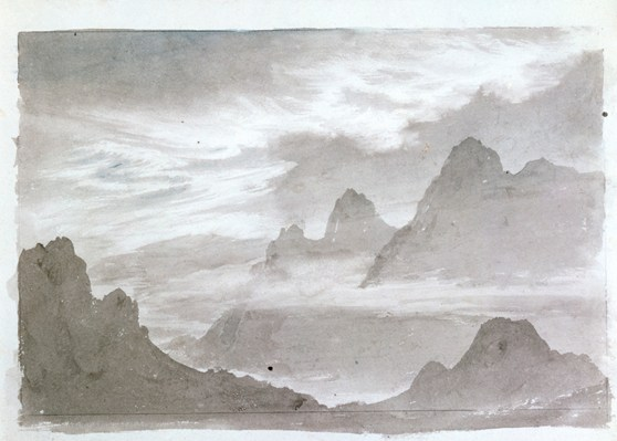 Grey watercolour painting of a cloud formation over mountains