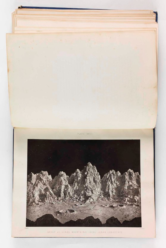 Photograph in a book of a plaster model of imaginary lunar mountains