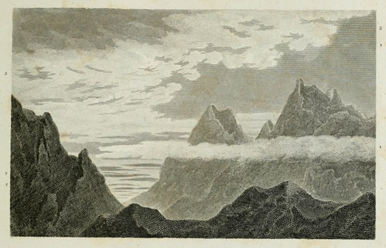 Engraving of a cloud formation over mountains