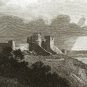 Engraving of a hilltop castle overlooking a lake with a large cloud formation overhead