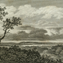 Engraving of a rural landscape with a large cloud formation overhead