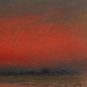 Oil painting of a sunset in deep reds and black