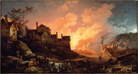 Oil painting from 1801 showing one of the Coalbrookdale ironworks, the Bedlam Furnaces along the river Severn, at night silhouetted against the fiery glow of a furnace being tapped.