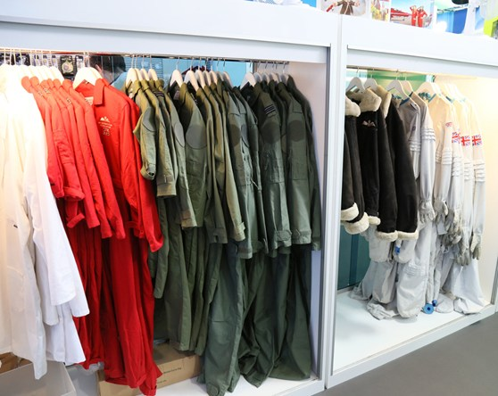 A selection of pilot outfits from different eras for use by visitors to the Flight Gallery photo studio at the Science Museum