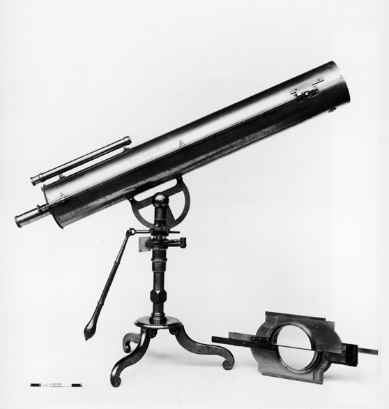 Black and white photograph of a thirty six inch reflecting telescope