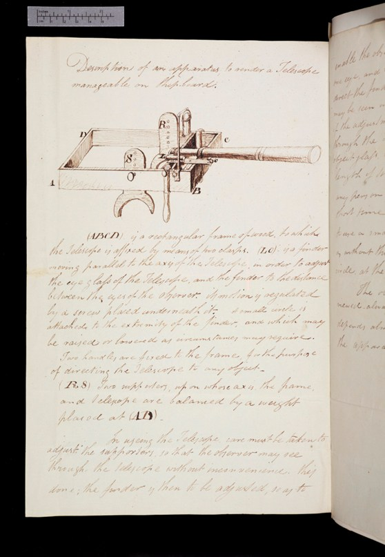 Pen and ink notes and a sketch of a shoulder mounted instrument for using a telescope on a ship from 1824