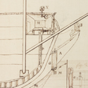 A pen and ink sketch from 1806 of a method for determing longitude using instruments at the bow of a ship