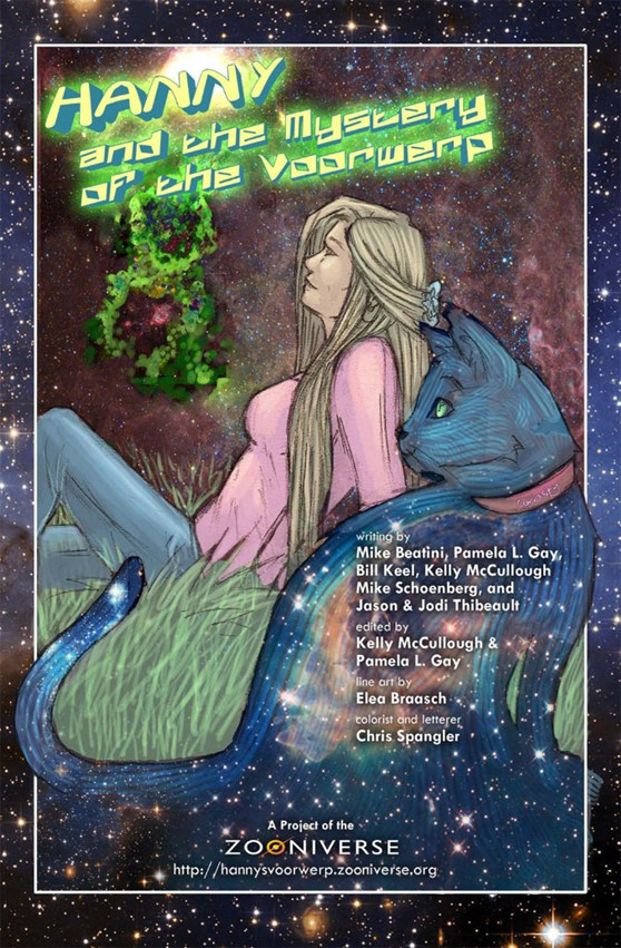 A girl and her cat look to the stars in this illustration on the front cover of the comic book Hanny and the mystery of the voorwerp