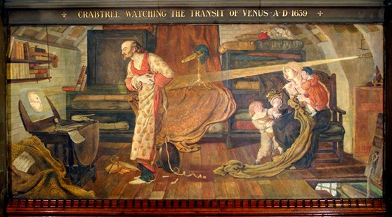 Painted wall mural depicting a man witnessing the transit of venus across the sun via a projection on paper from his telescope