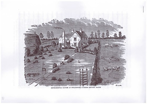 A black and white engraving of a scene showing a number of experimental rain gauges set in the grounds of a rectory