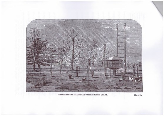 A black and white engraving of a scene showing a number of experimental rain gauges set in the grounds of a manor house