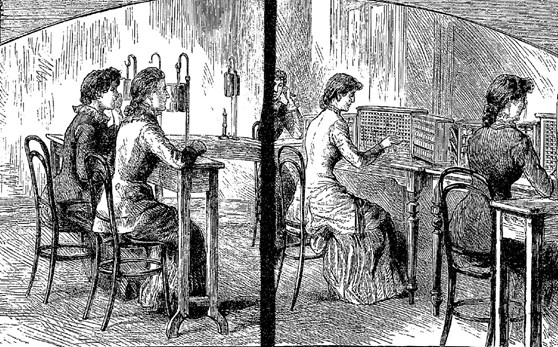 Black and white pen and ink drawing of several female operators at an early telephone switchboard