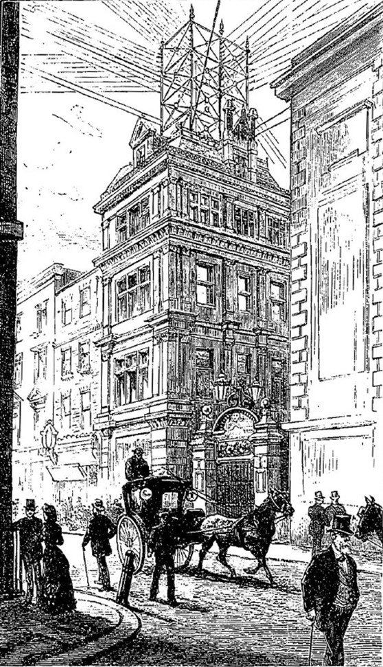 Black and white pen and ink drawing of a street scene showing telephone wires high above the buildings from 1883