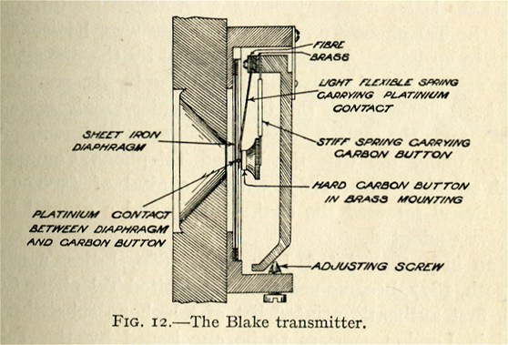 Black and white pen and ink drawing of a cross section of a Blake transmitter