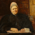 Oil painting portrait of Phoebe Lankester seated in her home
