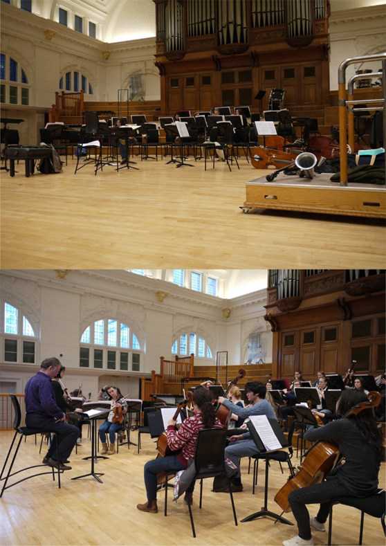 Colour photograph of the RCM orchestra rehearsing at the RCM