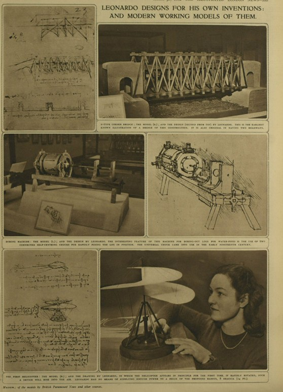 A page from the Illustrated London News from 1952 showing a number of photographs of models in the exhibition with accompanying text