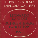 Photograph of the front cover in red and white of the catalogue for the royal academy diploma gallery leonardo da vinci quincentenary exhibition 1952