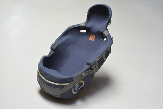 Colour photograph of a cosmonaut seat custom built for Dennis Tito the first space tourist