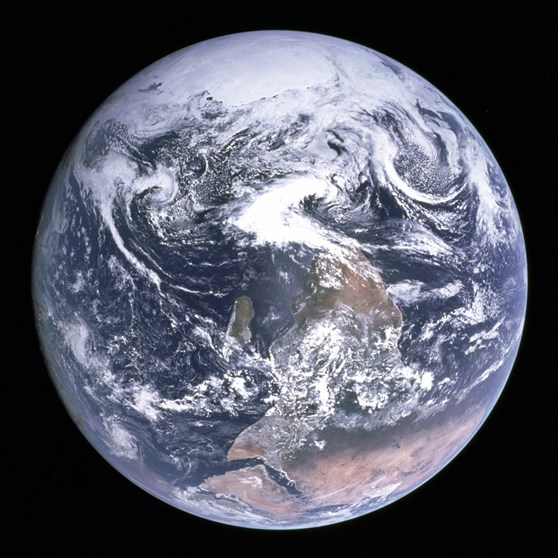 Colour photograph of Planet Earth from space