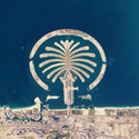 Colour photograph taken from space of the artificial archipelagos created off the coast of Dubai