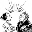 Black and white pen and ink comic illustration depicting Lovelace and Babbage