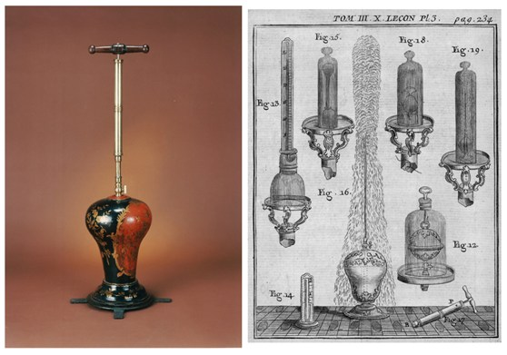 One colour photograph of Abbé Nollets Hero of Alexandrias pressure fountain from the late 1700s and one early engraved design of a similar pressure fountain