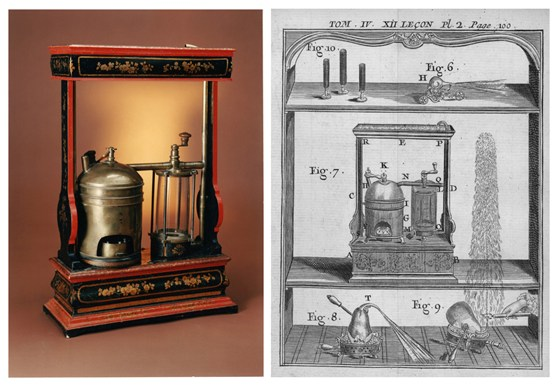One colour photograph of Abbé Nollets cobustion pump from the late 1700s and one early engraved design of a similar combustion pump