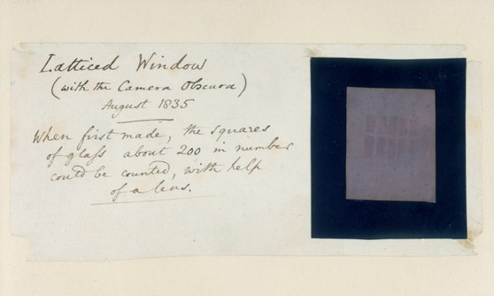 Photograph of the first photograph taken of a lattice window with a camera obscura with accompanying text by the maker