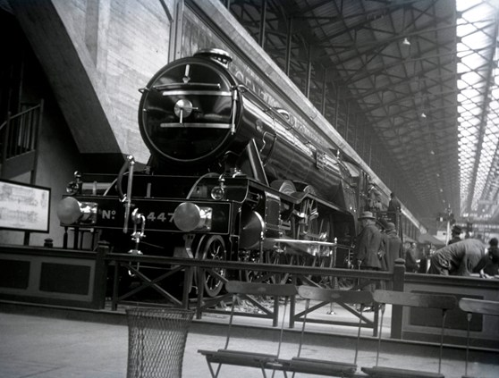 Black and white photograph of the Flying Scotsman steam train on display in the 1920s
