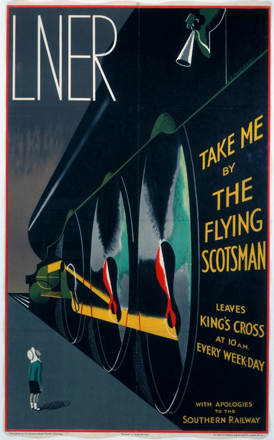 Illustrated colour poster from the 1920s advertising travel by the Flying Scotsman steam train depicting a boy looking up at the towering body of the train