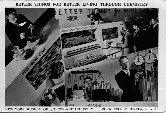 Black and white photographic postcard showing practical uses of chemistry and the caption better things for better living through chemistry