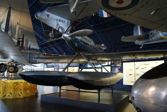Colour photograph of the Supermarine S6B aircraft in the Science Museum Flight Gallery