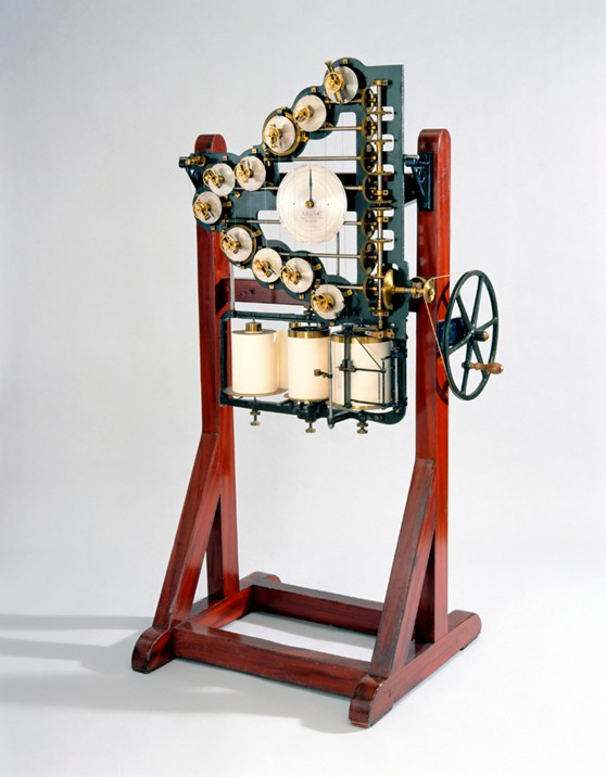 Colour photograph of a tide predicting machine from 1876