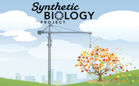 Computer graphic showing a crane and a tree against a blue sky with the title Synthetic Biology Project