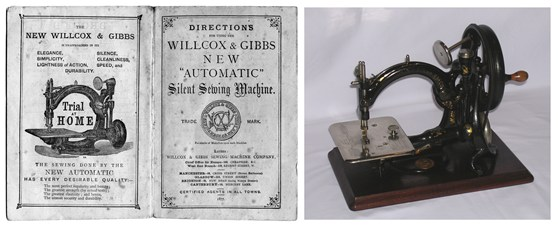 Colour photograph of a Willcox and Gibbs chain-stitch sewing machine from 1914 with accompanying instruction booklet