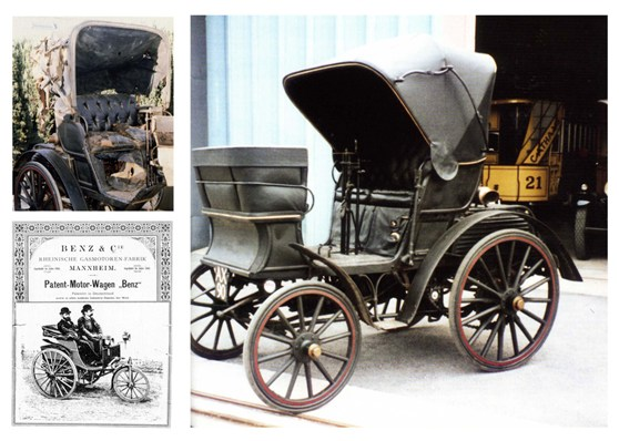Composite of images of nineteenth century Benz motor car pre and post renovation and an accompanying booklet for the car