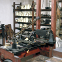 Colour photograph of a view of the interior of the replica of James Watts workshop