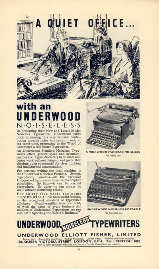 Printed advertisement for a noiseless typewriter made by Underwood